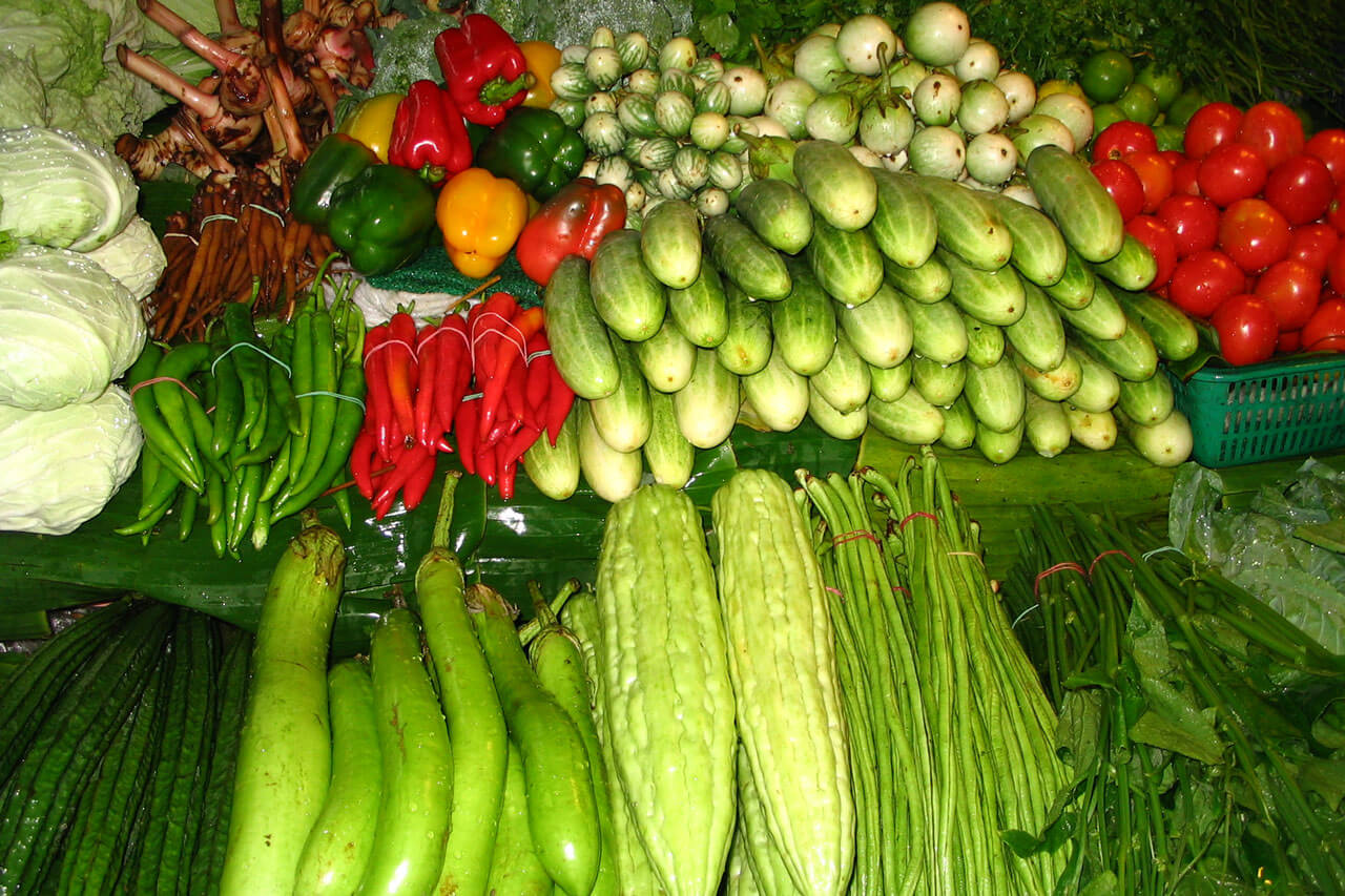 Vegetables found in the market of Chiang Mai, Thailand.